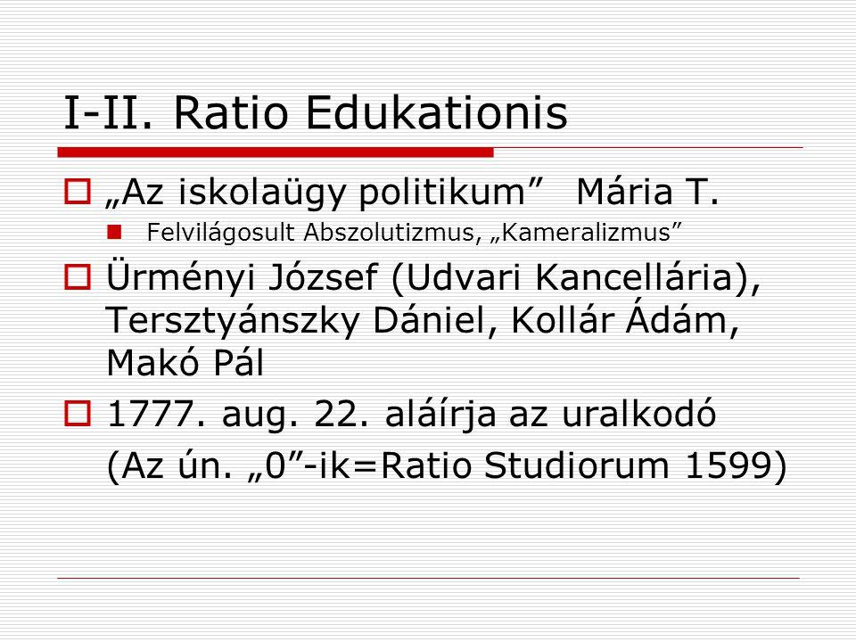 A Ratio tagolódása  Átfogó Nevelési rendszer (A nevelésnek és az egész tanügynek rendje MO-on és a kapcsolt tartományokban)  Részei Az iskolai közigazgatás Tanterv+módszerek Rendtartás Tankerületi központok: Zágráb, Pozsony, Besztercebánya, Nagyvárad, Győr, Buda, Kassa, Ungvár