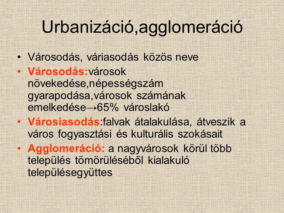 Urbanizáció,agglomeráció Városodás, váriasodás közös neve Városodás:városok növekedése,népességszám gyarapodása,városok számának emelkedése→65% városl