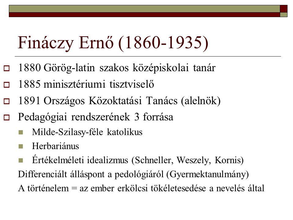 Fináczy Ernő (1860-1935)  1880 Görög-latin szakos középiskolai tanár  1885 minisztériumi tisztviselő  1891 Országos Közoktatási Tanács (alelnök) 