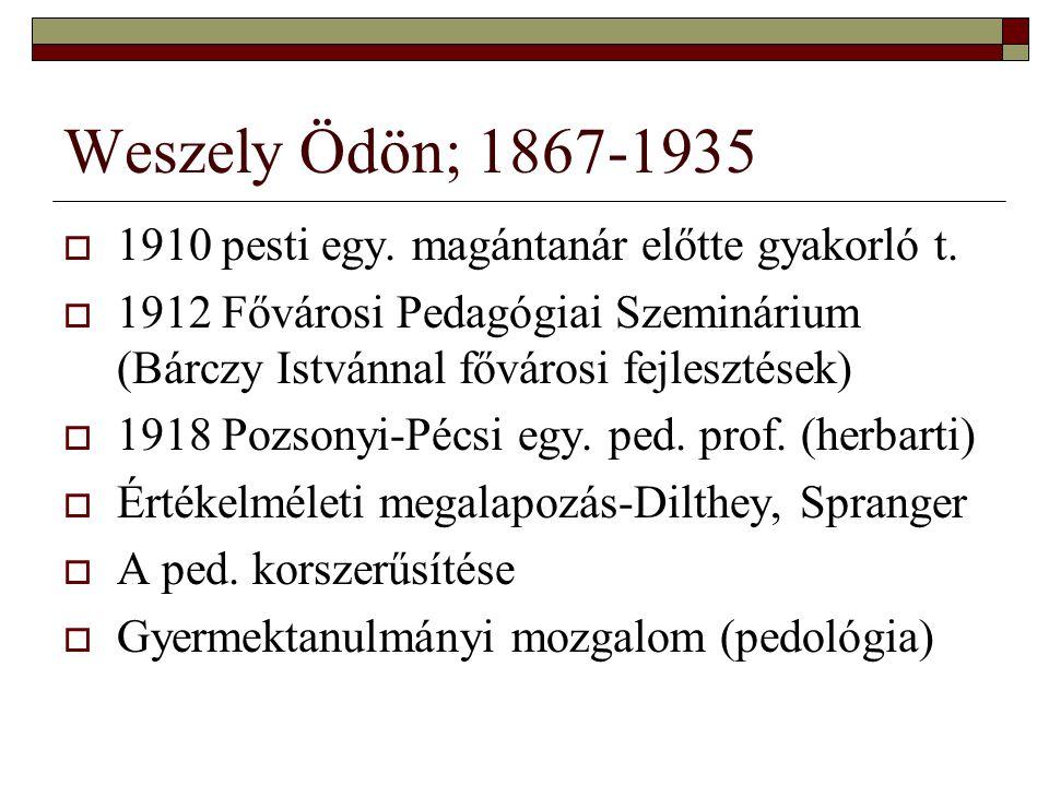 Weszely Ödön; 1867-1935  1910 pesti egy. magántanár előtte gyakorló t.  1912 Fővárosi Pedagógiai Szeminárium (Bárczy Istvánnal fővárosi fejlesztések
