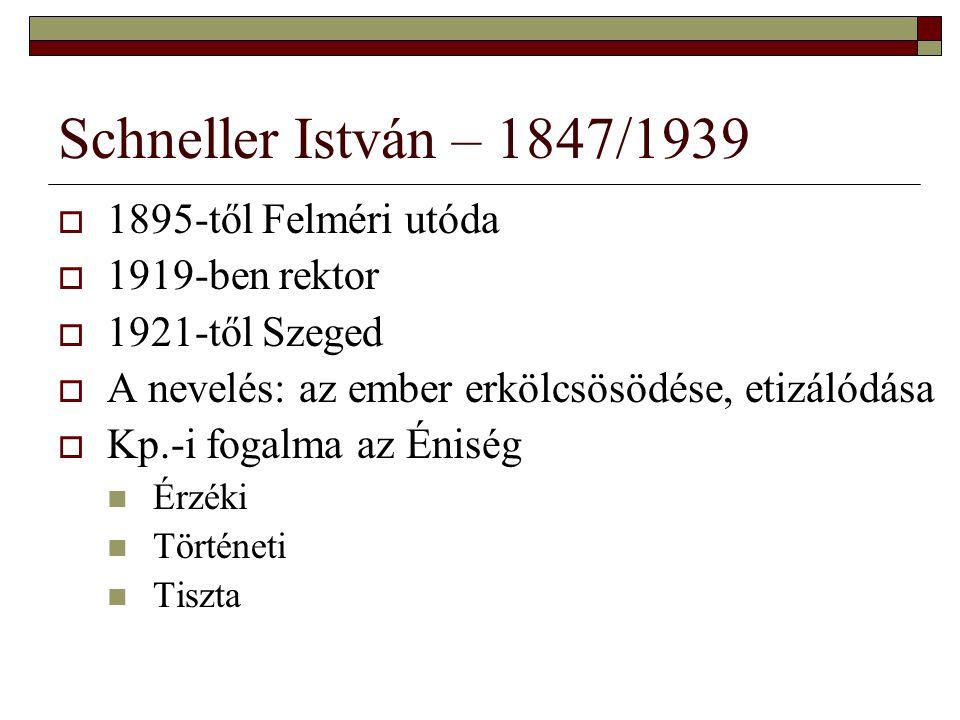 Schneller István – 1847/1939  1895-től Felméri utóda  1919-ben rektor  1921-től Szeged  A nevelés: az ember erkölcsösödése, etizálódása  Kp.-i fo