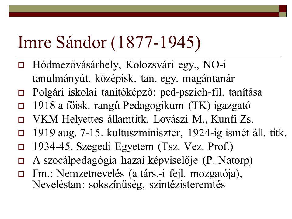Imre Sándor (1877-1945)  Hódmezővásárhely, Kolozsvári egy., NO-i tanulmányút, középisk. tan. egy. magántanár  Polgári iskolai tanítóképző: ped-pszic
