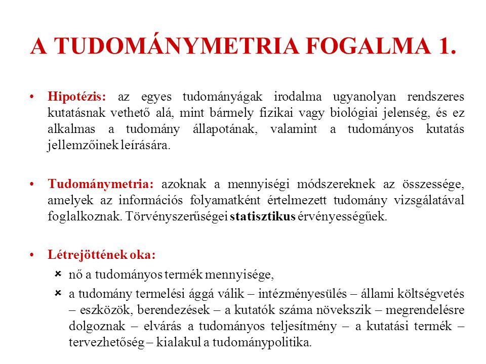 A TUDOMÁNYMETRIA FOGALMA 1. Hipotézis: az egyes tudományágak irodalma ugyanolyan rendszeres kutatásnak vethető alá, mint bármely fizikai vagy biológia