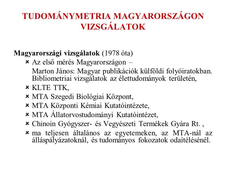 TUDOMÁNYMETRIA MAGYARORSZÁGON VIZSGÁLATOK Magyarországi vizsgálatok (1978 óta)  Az első mérés Magyarországon – Marton János: Magyar publikációk külfö