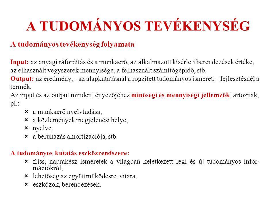 TUDOMÁNYMETRIA MAGYARORSZÁGON INTÉZMÉNYEK SZOLGÁLTATÁSAI 2.