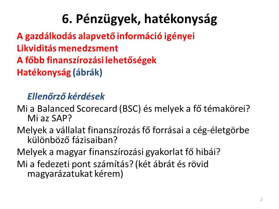 6. Pénzügyek, hatékonyság A gazdálkodás alapvető információ igényei Likviditás menedzsment A főbb finanszírozási lehetőségek Hatékonyság (ábrák) Ellen