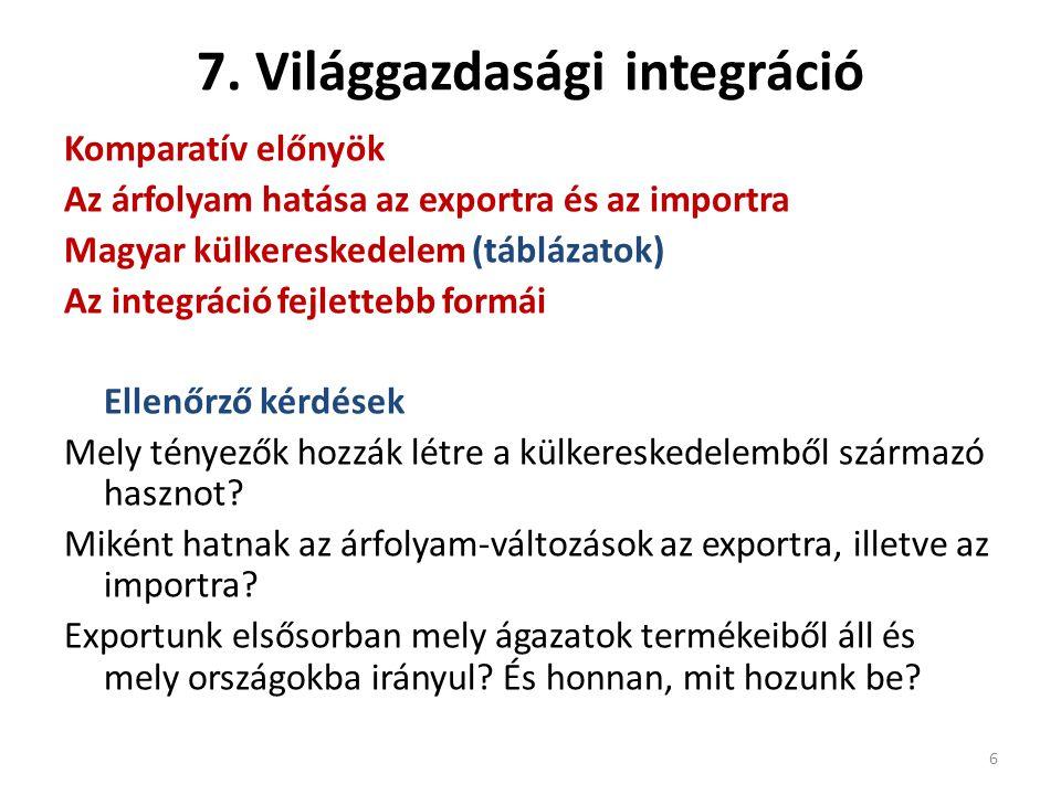 7. Világgazdasági integráció Komparatív előnyök Az árfolyam hatása az exportra és az importra Magyar külkereskedelem (táblázatok) Az integráció fejlet
