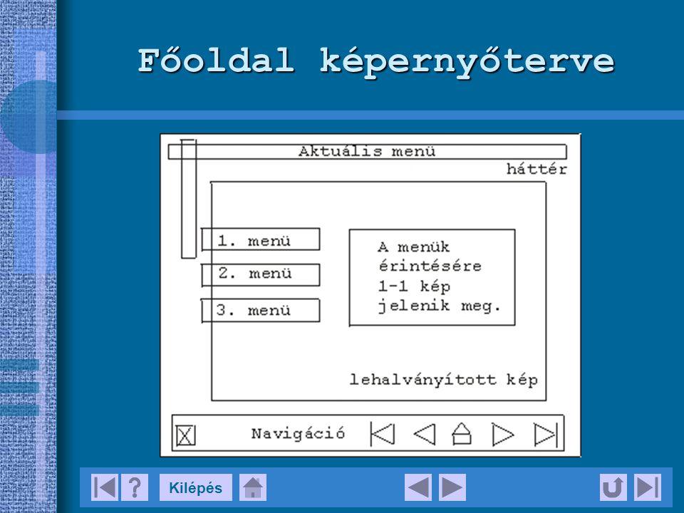 Multimédia struktúra Bejelentkező kép Köszöntés Főmenü 1.