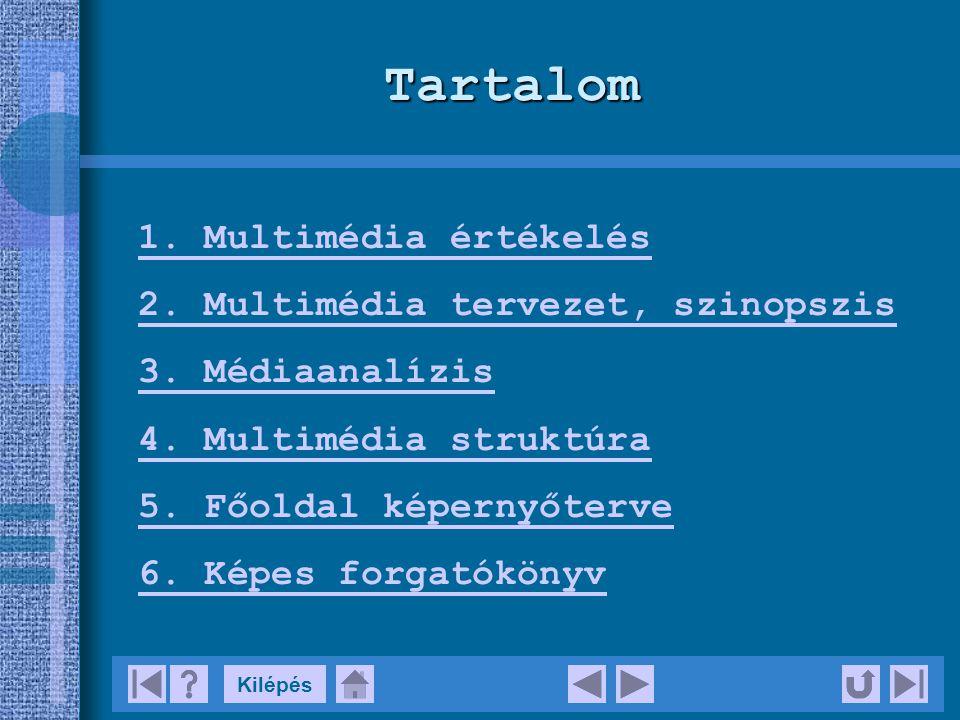 KilépésTartalom 1.Multimédia értékelés 2. Multimédia tervezet, szinopszis 3.