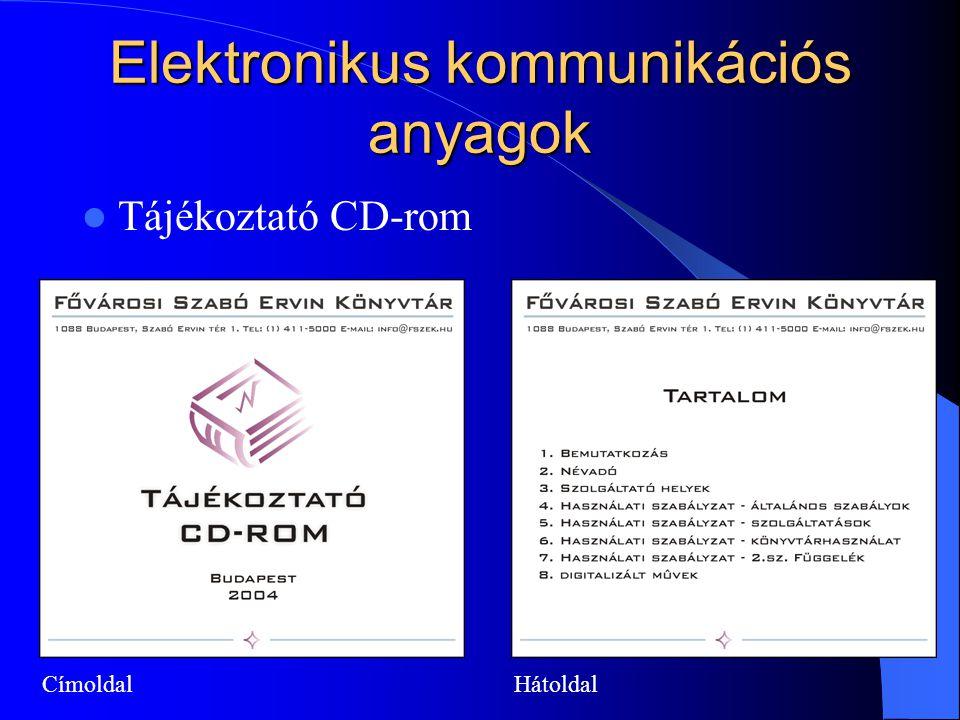 Elektronikus kommunikációs anyagok Tájékoztató CD-rom CímoldalHátoldal