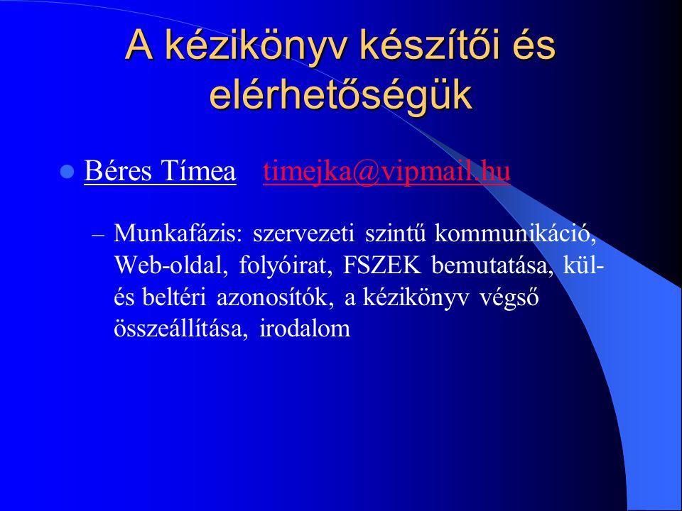 A kézikönyv készítői és elérhetőségük Béres Tímeatimejka@vipmail.hutimejka@vipmail.hu – Munkafázis: szervezeti szintű kommunikáció, Web-oldal, folyóirat, FSZEK bemutatása, kül- és beltéri azonosítók, a kézikönyv végső összeállítása, irodalom