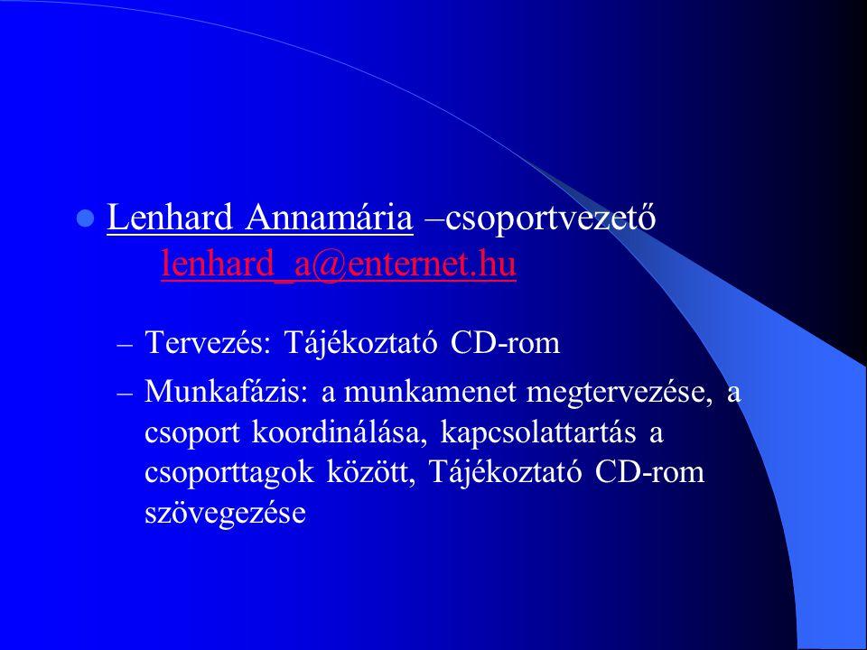 Lenhard Annamária –csoportvezető lenhard_a@enternet.hu lenhard_a@enternet.hu – Tervezés: Tájékoztató CD-rom – Munkafázis: a munkamenet megtervezése, a csoport koordinálása, kapcsolattartás a csoporttagok között, Tájékoztató CD-rom szövegezése