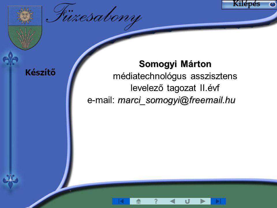 Somogyi Márton médiatechnológus asszisztens levelező tagozat II.évf marci_somogyi@freemail.hu e-mail: marci_somogyi@freemail.hu Készítő