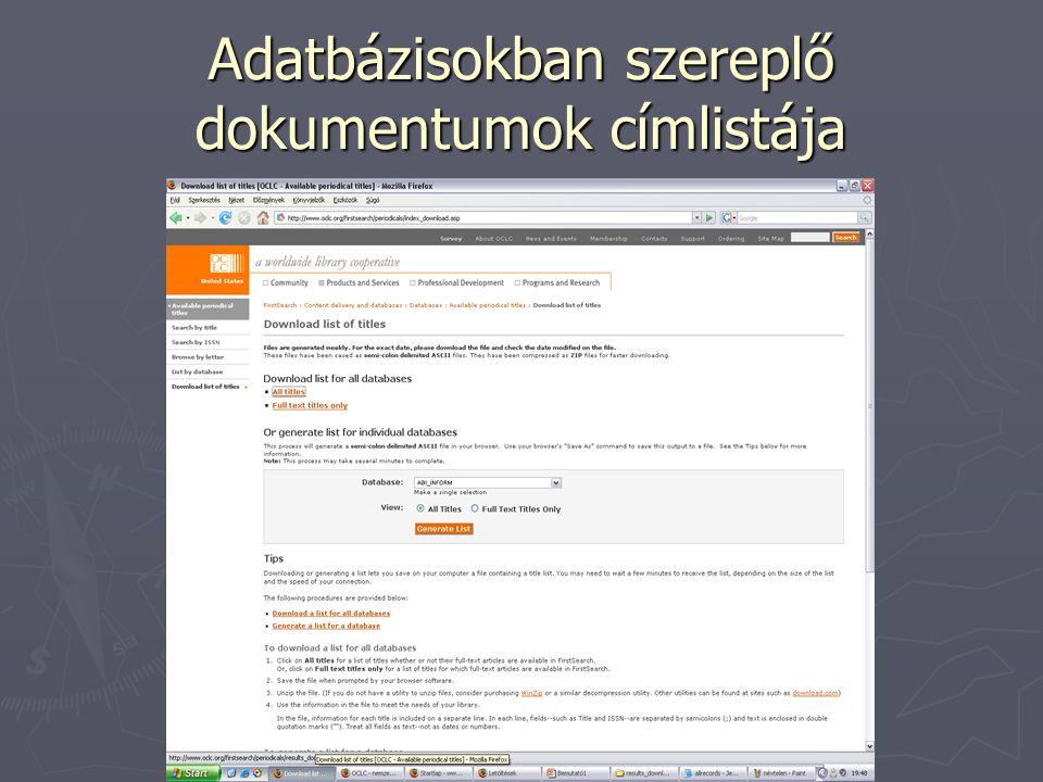 Adatbázisokban szereplő dokumentumok címlistája