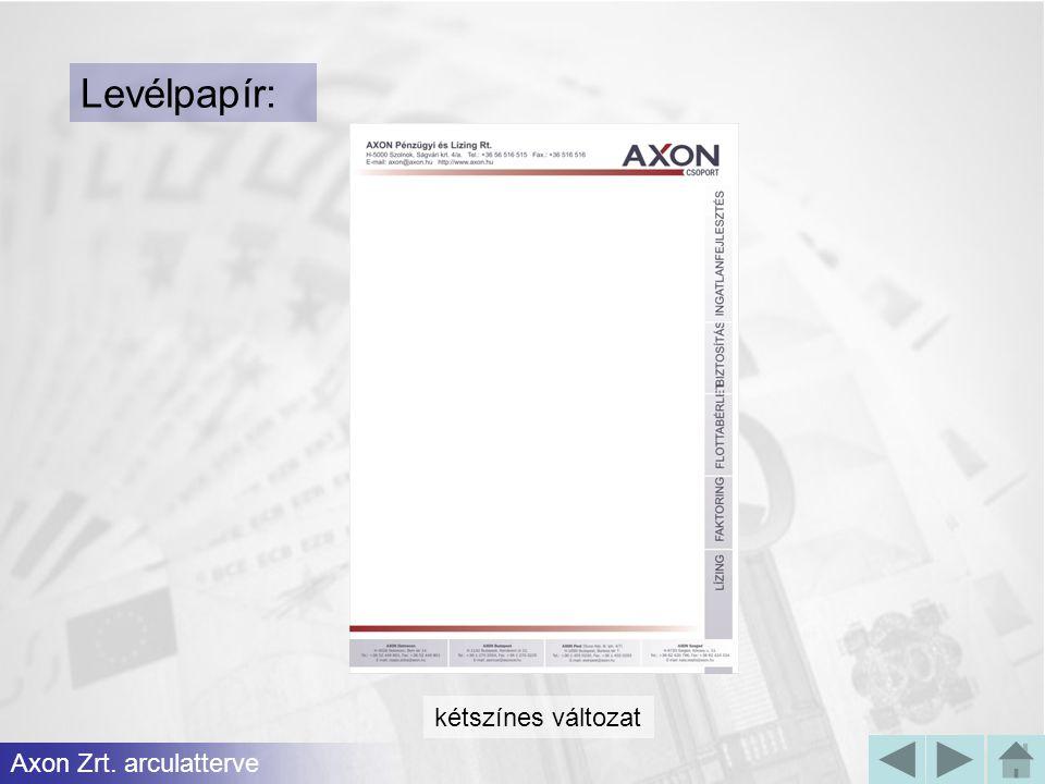 Levélpapír: kétszínes változat Axon Zrt. arculatterve