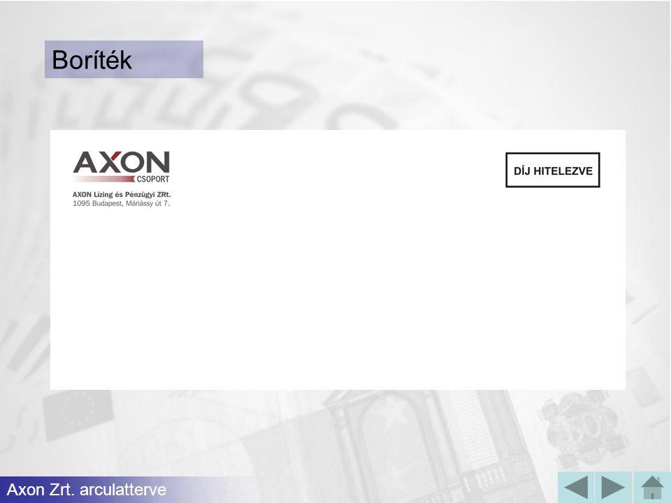 Axon Zrt. arculatterve Boríték
