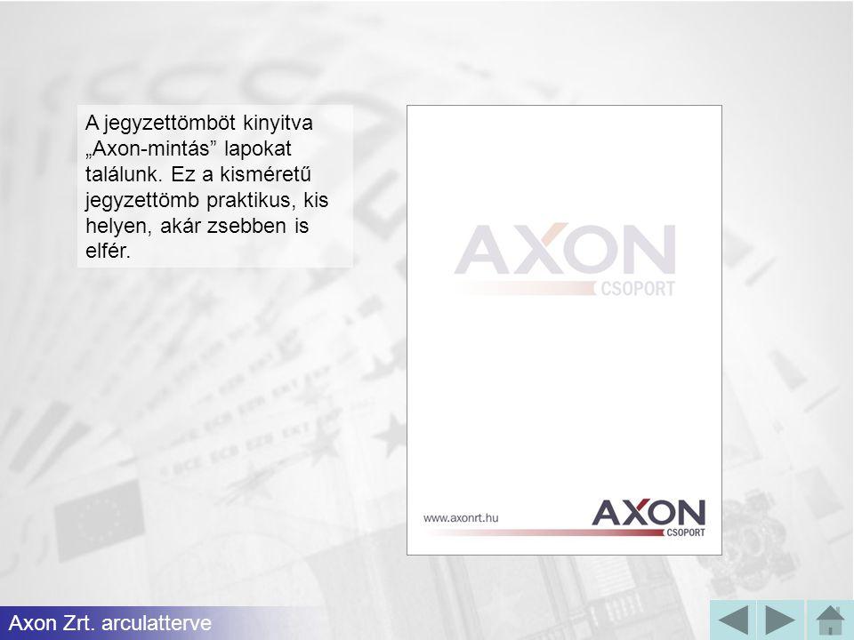 """A jegyzettömböt kinyitva """"Axon-mintás"""" lapokat találunk. Ez a kisméretű jegyzettömb praktikus, kis helyen, akár zsebben is elfér. Axon Zrt. arculatter"""