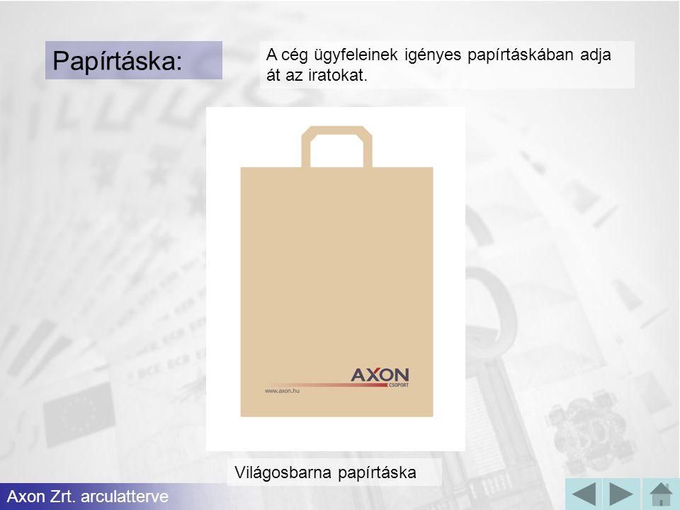 Papírtáska: A cég ügyfeleinek igényes papírtáskában adja át az iratokat.