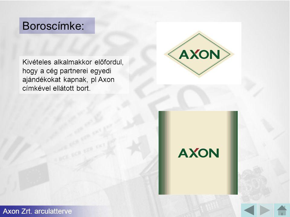 Boroscímke: Kivételes alkalmakkor előfordul, hogy a cég partnerei egyedi ajándékokat kapnak, pl Axon címkével ellátott bort. Axon Zrt. arculatterve