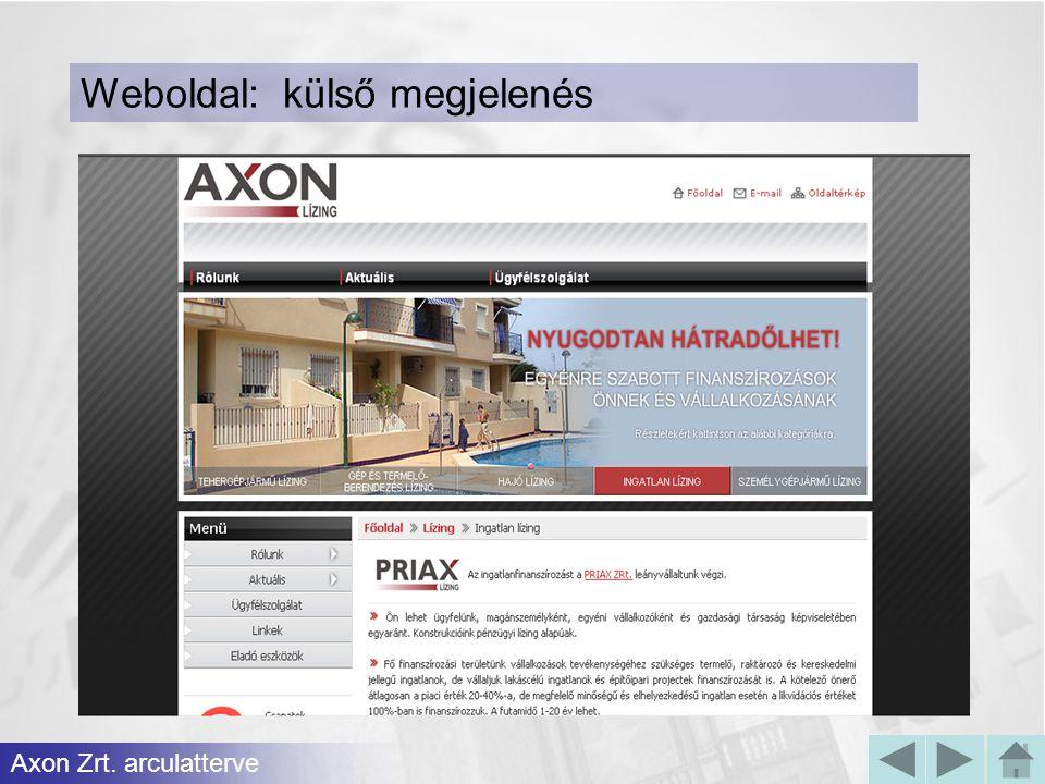 Axon Zrt. arculatterve Weboldal: külső megjelenés