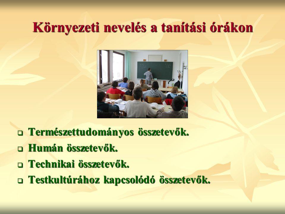 Környezeti nevelés a tanítási órákon  Természettudományos összetevők.  Humán összetevők.  Technikai összetevők.  Testkultúrához kapcsolódó összete