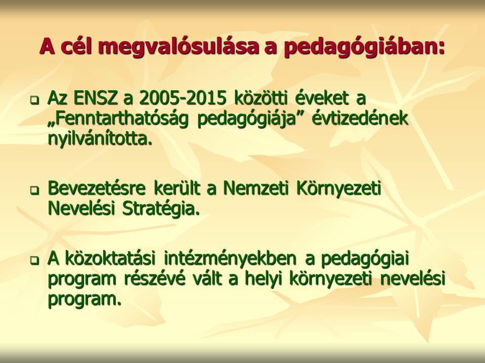 """A cél megvalósulása a pedagógiában:  Az ENSZ a 2005-2015 közötti éveket a """"Fenntarthatóság pedagógiája"""" évtizedének nyilvánította.  Bevezetésre kerü"""