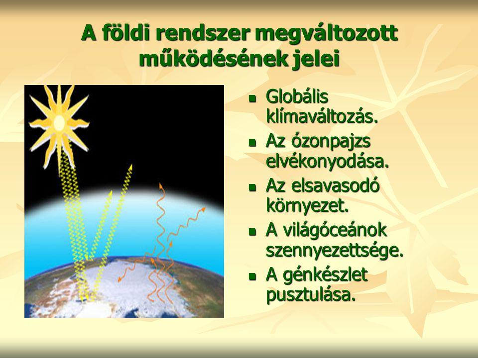 A földi rendszer megváltozott működésének jelei Globális klímaváltozás. Az ózonpajzs elvékonyodása. Az elsavasodó környezet. A világóceánok szennyezet