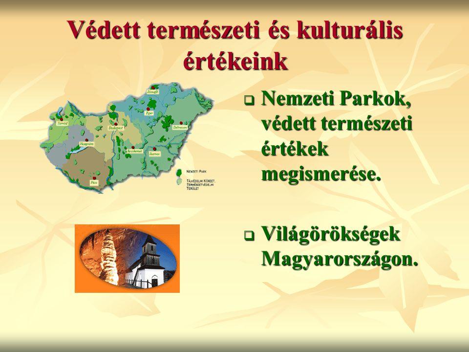 Védett természeti és kulturális értékeink  Nemzeti Parkok, védett természeti értékek megismerése.  Világörökségek Magyarországon.