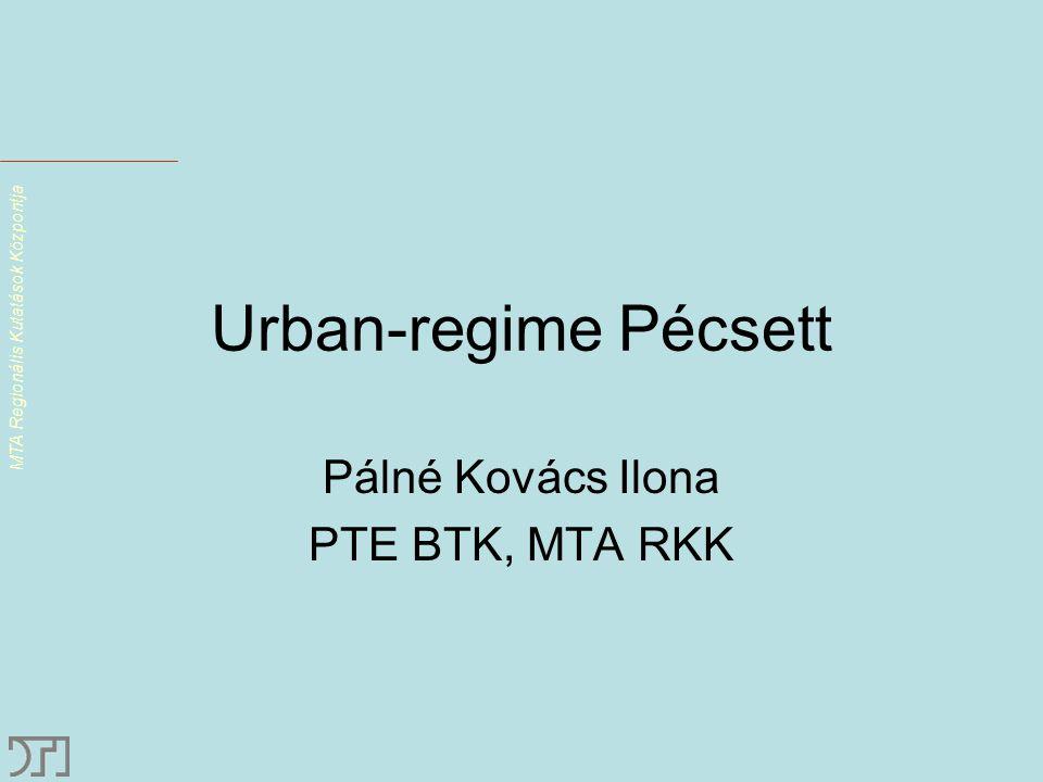 MTA Regionális Kutatások Központja Urban-regime Pécsett Pálné Kovács Ilona PTE BTK, MTA RKK