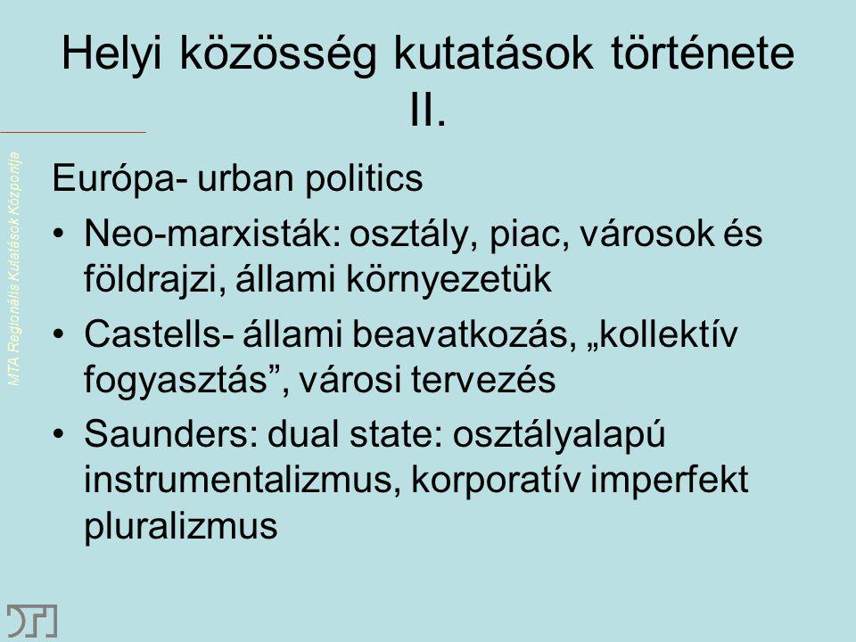 MTA Regionális Kutatások Központja Helyi közösség kutatások története II.