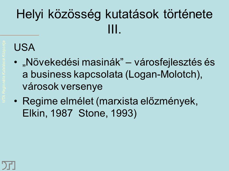 MTA Regionális Kutatások Központja Helyi közösség kutatások története III.
