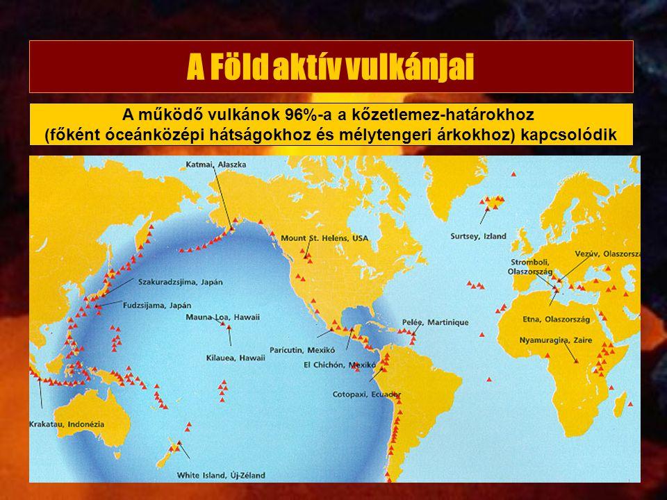 A Föld aktív vulkánjai A működő vulkánok 96%-a a kőzetlemez-határokhoz (főként óceánközépi hátságokhoz és mélytengeri árkokhoz) kapcsolódik