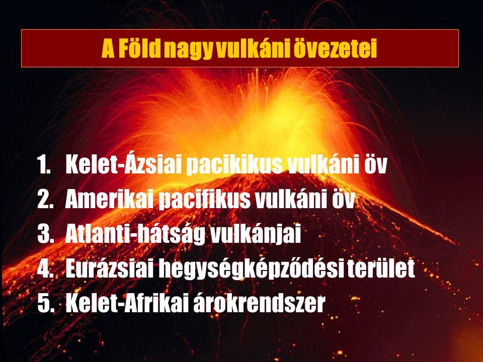 A Föld nagy vulkáni övezetei 1.Kelet-Ázsiai pacikikus vulkáni öv 2.Amerikai pacifikus vulkáni öv 3.Atlanti-hátság vulkánjai 4.Eurázsiai hegységképződé