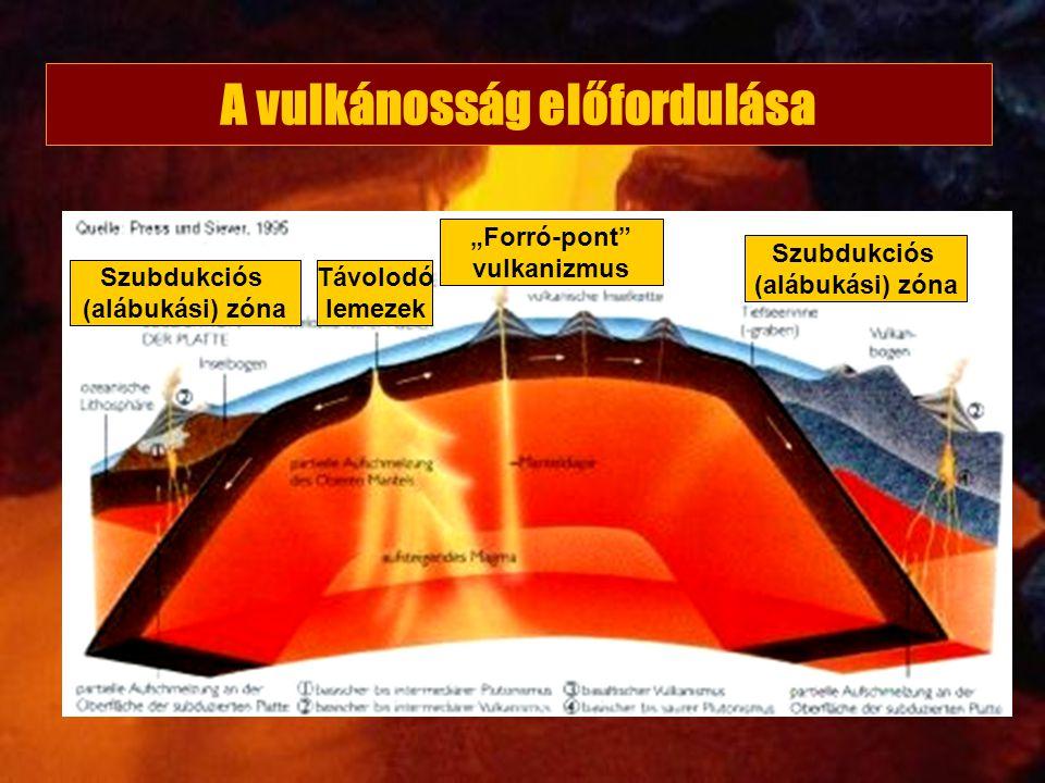 """Szubdukciós (alábukási) zóna """"Forró-pont"""" vulkanizmus Szubdukciós (alábukási) zóna Távolodó lemezek A vulkánosság előfordulása"""