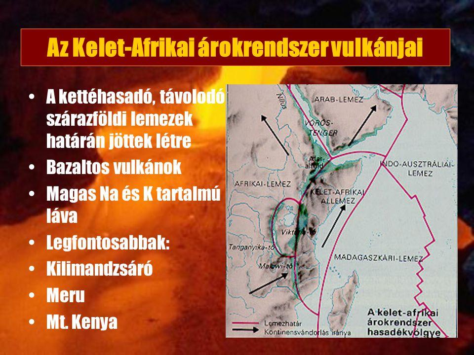Az Kelet-Afrikai árokrendszer vulkánjai A kettéhasadó, távolodó szárazföldi lemezek határán jöttek létre Bazaltos vulkánok Magas Na és K tartalmú láva