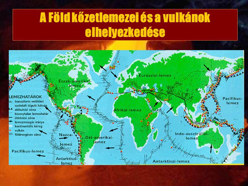A Föld kőzetlemezei és a vulkánok elhelyezkedése