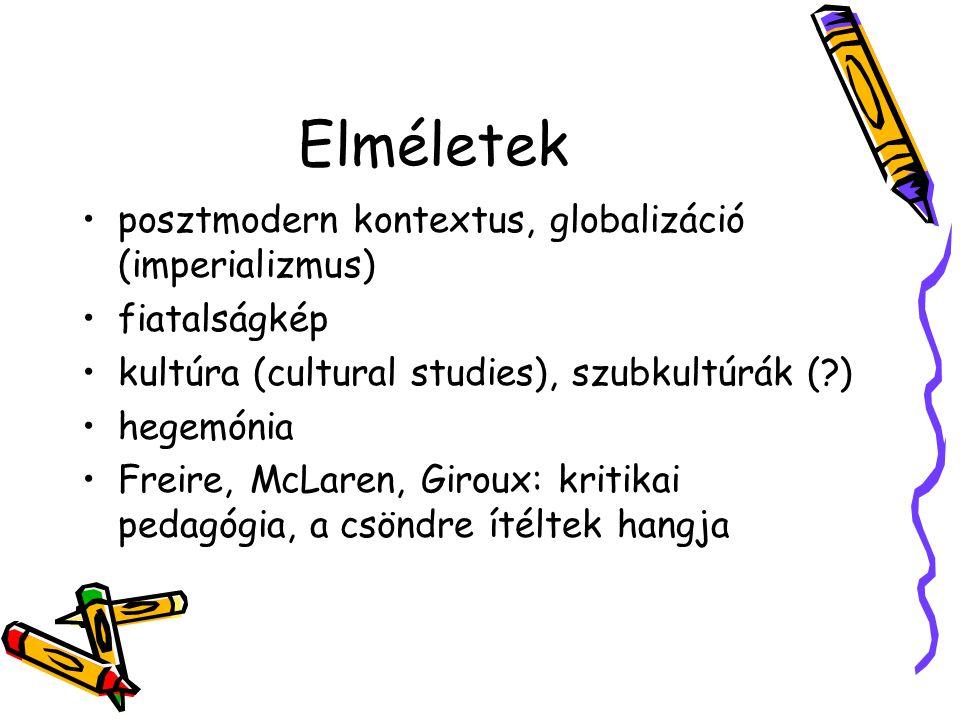 Elméletek posztmodern kontextus, globalizáció (imperializmus) fiatalságkép kultúra (cultural studies), szubkultúrák (?) hegemónia Freire, McLaren, Gir