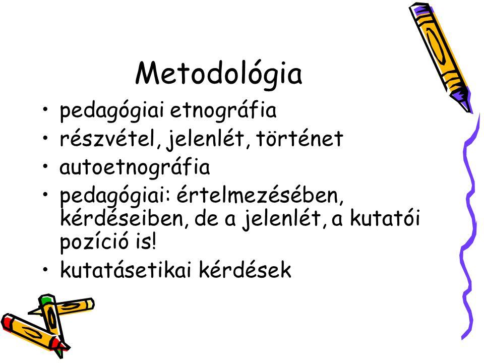 Metodológia pedagógiai etnográfia részvétel, jelenlét, történet autoetnográfia pedagógiai: értelmezésében, kérdéseiben, de a jelenlét, a kutatói pozíc