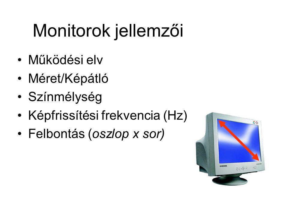Monitorok jellemzői Működési elv Méret/Képátló Színmélység Képfrissítési frekvencia (Hz) Felbontás (oszlop x sor)