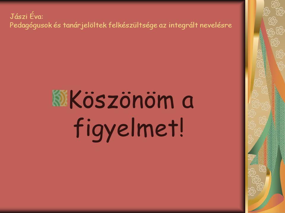 Jászi Éva: Pedagógusok és tanárjelöltek felkészültsége az integrált nevelésre Köszönöm a figyelmet!