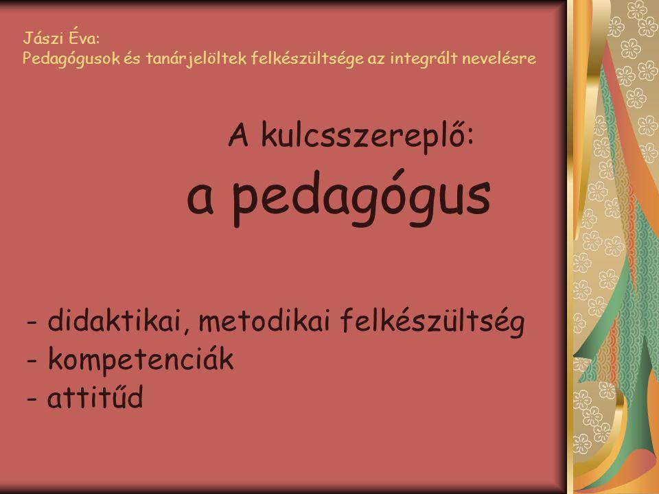 Jászi Éva: Pedagógusok és tanárjelöltek felkészültsége az integrált nevelésre A kulcsszereplő: a pedagógus - didaktikai, metodikai felkészültség - kom