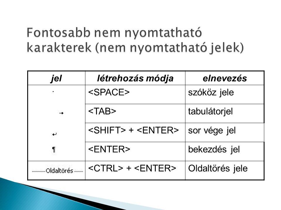 jellétrehozás módjaelnevezés szóköz jele tabulátorjel + sor vége jel bekezdés jel + Oldaltörés jele