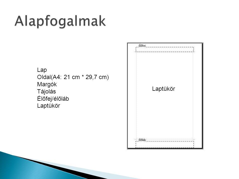 Lap Oldal(A4: 21 cm * 29,7 cm) Margók Tájolás Élőfej/élőláb Laptükör