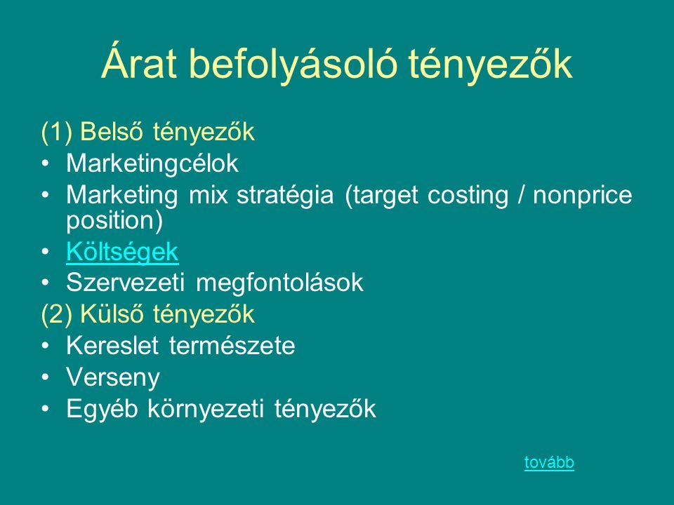 Árat befolyásoló tényezők (1) Belső tényezők Marketingcélok Marketing mix stratégia (target costing / nonprice position) Költségek Szervezeti megfonto