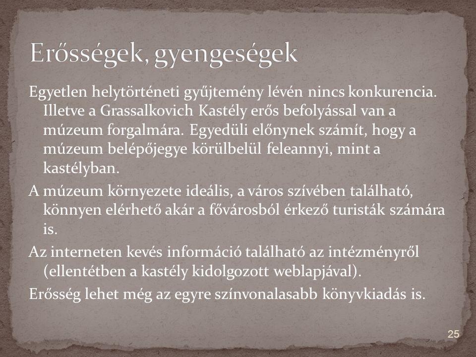 Egyetlen helytörténeti gyűjtemény lévén nincs konkurencia. Illetve a Grassalkovich Kastély erős befolyással van a múzeum forgalmára. Egyedüli előnynek