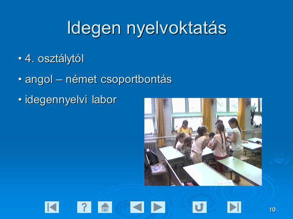 10 Idegen nyelvoktatás 4. osztálytól 4. osztálytól angol – német csoportbontás angol – német csoportbontás idegennyelvi labor idegennyelvi labor