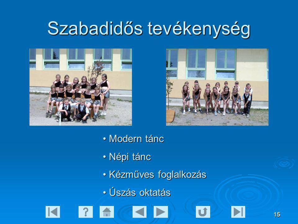 15 Szabadidős tevékenység Modern tánc Modern tánc Népi tánc Népi tánc Kézműves foglalkozás Kézműves foglalkozás Úszás oktatás Úszás oktatás