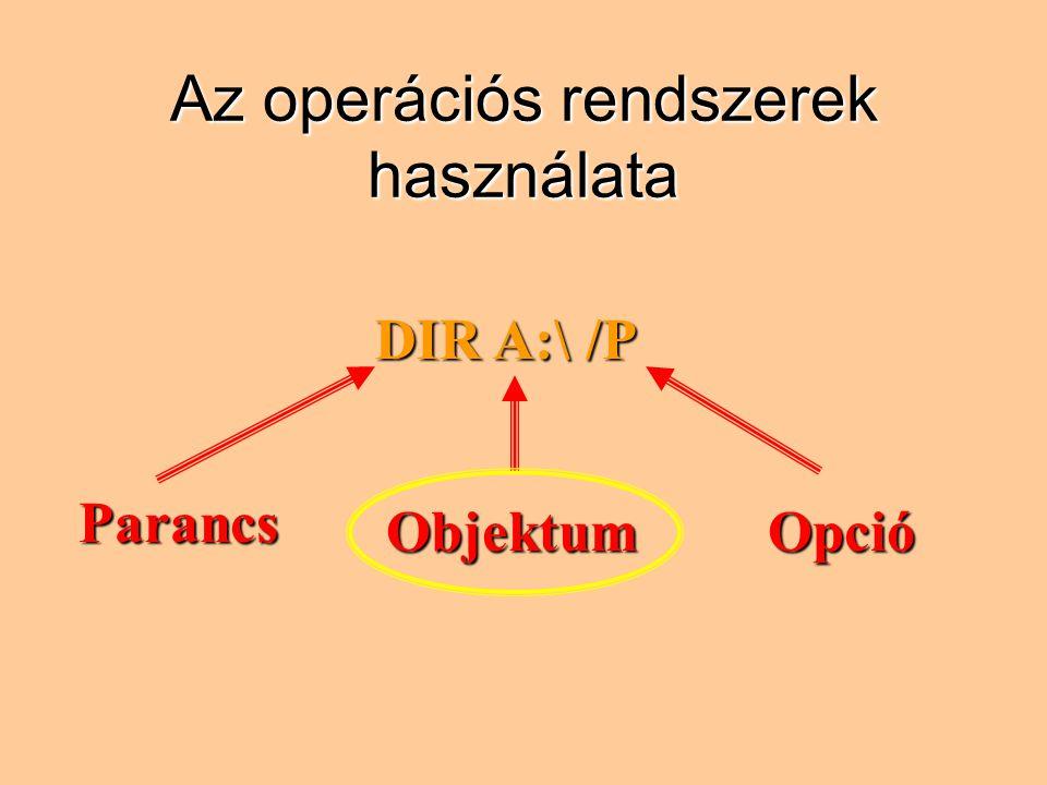 Az operációs rendszerek használata DIR A:\ /P Parancs ObjektumOpció