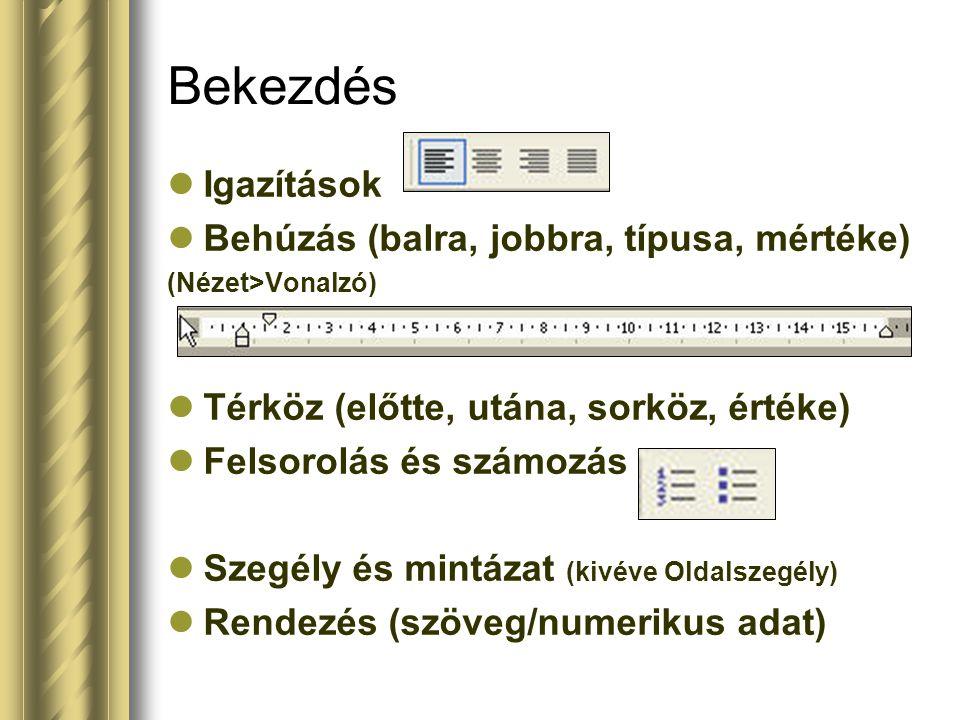 Igazítások Behúzás (balra, jobbra, típusa, mértéke) (Nézet>Vonalzó) Térköz (előtte, utána, sorköz, értéke) Felsorolás és számozás Szegély és mintázat (kivéve Oldalszegély) Rendezés (szöveg/numerikus adat) Bekezdés