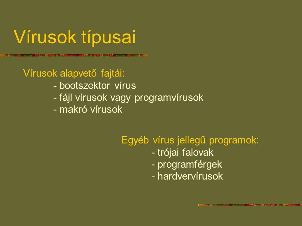 Vírusok típusai Vírusok alapvető fajtái: - bootszektor vírus - fájl vírusok vagy programvírusok - makró vírusok Egyéb vírus jellegű programok: - trója